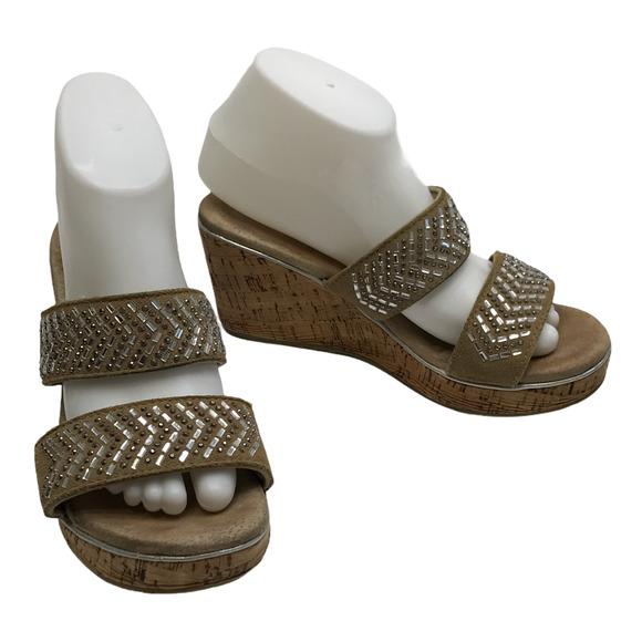 Volatile Bling Strap Wedge Sandals Sze 8